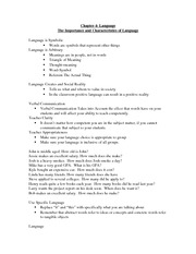Characteristics and Language Notes