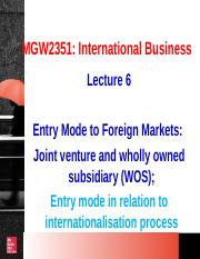 MGW2351_Week 6_Entry mode  relation to internationalization process_Joint venture  WOS.ppt