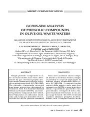 GC-MS-SIM ANALYSIS OF PHENOLIC COMPOUNDS IN OLIVE OIL WASTE WATERS.