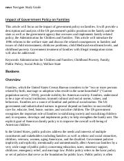 Impact of Government Policy on Families Research Paper Starter - eNotes