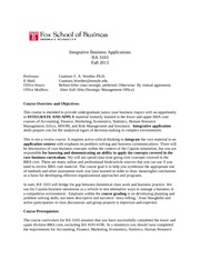 BA 3103 Integrative Business Applications Syllabus Fall 2013-WERTHER