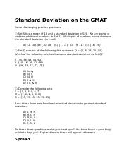 Standard Deviation on the GMAT