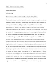 3 pages the lottery - Leadership Essays Examples