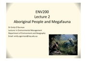 Week 1 Lecture 2 - Aboriginal people and Megafauna