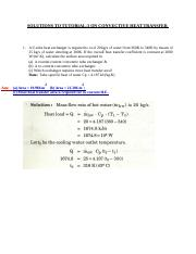 SOLUTIONS TO TUTORIAL 3 ON CONVECTIVE HEAT TRANSFER