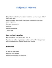 verbs project French subjonctif present