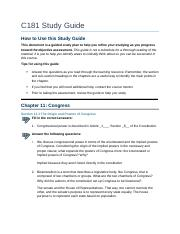 c181 course study guide C181 study guide (new)docx 2 pages c181 - study guide chapter 1 western  governors university survey of united states constitution and government.