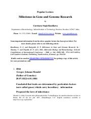 MILESTONES IN GENE AND GENOME RESEARCH
