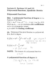 Lecture 6- Polynomial Functions, Quadratic Models