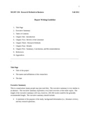 MGMT 250_Report Writing Guideline_