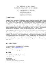 NUS Sociology Timetable pdf - MODULE CODE AY2018/2019 SEM I MODULE