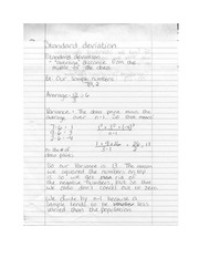Standard Deviation, Distribution, and Interval Notes