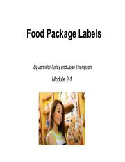 Module 2 Food labels
