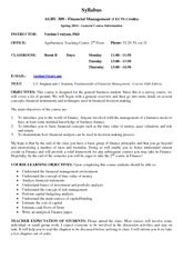 Financial Management  - Syllabus 3rd year Spring 2014