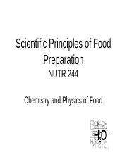 Chemistry & Physics of food