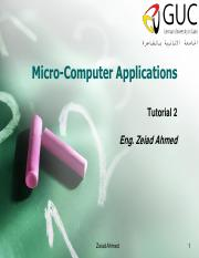 Tutorial 2 - microcomputer applications