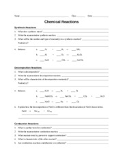 Worksheet - Chemical Reactions - Name Class Date Chemical ...