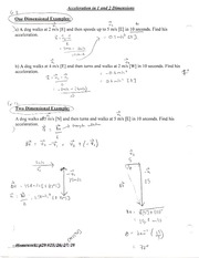 Acceleration 1 and 2 dimension Note