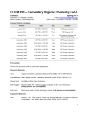 CHEM 233 Syllabus SP13