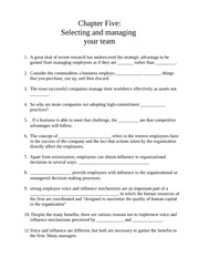 Chapter Five: Selecting and managing  your team