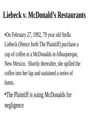 Liebeck Casegroup 3 Liebeck V Mcdonalds Restaurants Group 3