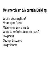 6 Metamorphism and Mountain Building