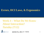 SUM11_Week 4a - Errors, HCI Laws & Ergonomics