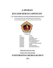 Laporan Kkl 2 Doc Laporan Kuliah Kerja Lapangan Pt Yakult Indonesia Persada Pada Bidang Akuntansi Biaya Untuk Memenuhi Tugas Mata Kuliah Kuliah Kerja Course Hero