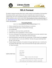 (WRIT 110) MLA Formatting Guide