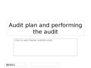 Audit plan and audit performing