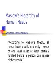 1.01 MaslowÆs Hierarchy of Needs.ppt