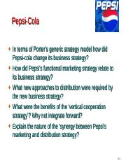 case questions week 8 (4) - Pepsi-Cola In terms of Porters