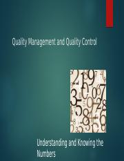Quality Management and Quality Control