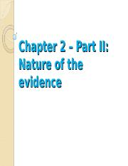 EHS 260 Spring 2016 Chapter 2 Nature of Evidence - Part 2 2016-2