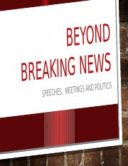 SPEECHES, MEETINGS AND POLITICS LECTURE