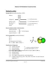 Handout 8 - Refrigerant Classifictions