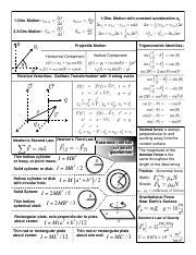 Exam 1 Formula Sheet Fall 2015 - 1-Dim Motion with constant