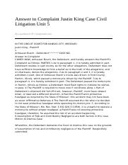 Answer_to_Complaint_Justin_King_Case_Civil_Litigation_Unit_5-02_07_2011