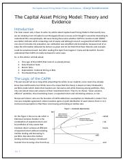 The Capital Asset Pricing Model -Theory and Evidence by Giorgi Samkharadze