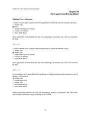 TEST BANK_The Capital Asset Pricing Model