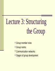 Lecture 3 - Structuring the group