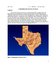 Chapter 8 -- Texas Landforms and Geology