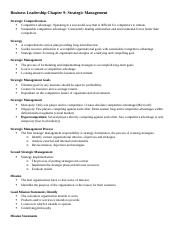Business Leadership Chapter 9 NOTES