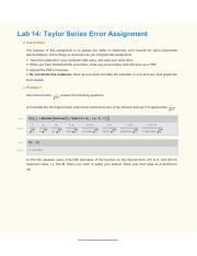 Lab 14 Taylor Series Error Assignment
