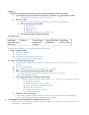 Public Health 60 Environmental Quality and Health Midterm Review Study Guide