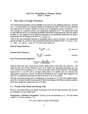 Week 7 Lecture Notes on Strong and Weak Laws of Large Numbers