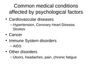Physical Disorders & Health Psychology, Stress Disorders, and Sleep Disorders
