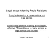Legal Issues Affecting Public Relations