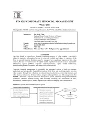 FIN 6215 Corporate Financial Management (WINTER 2014) Syllabus(1)