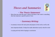 Summary Writing, Active Reading and Textmapping (types of thesis) 2015